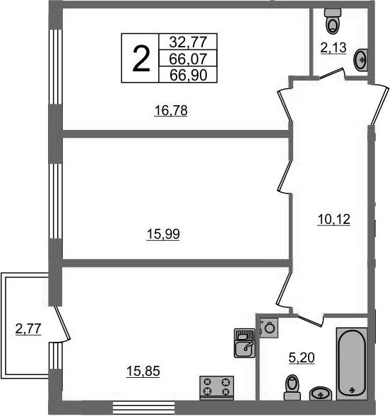 2-к.кв, 68.84 м²