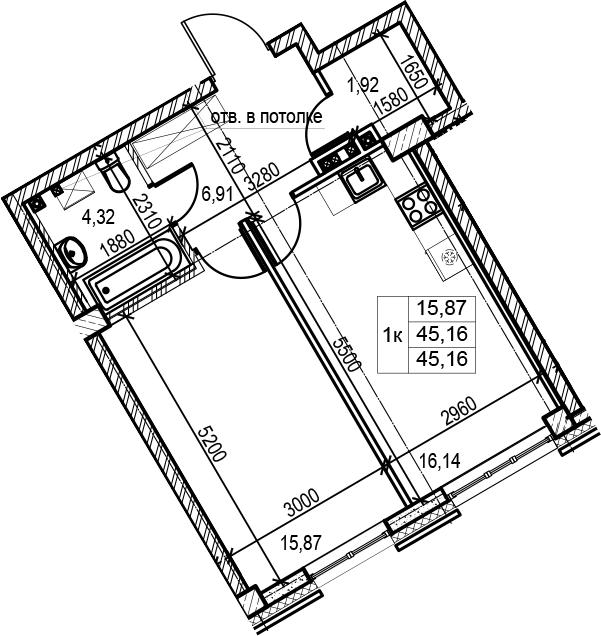 2Е-комнатная, 45.16 м²– 2