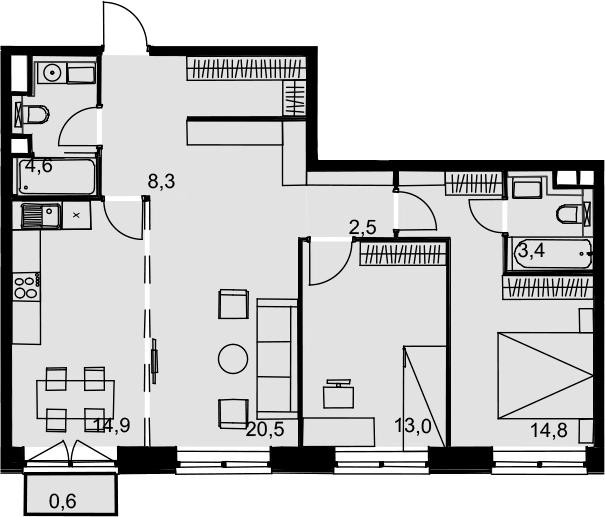 3-к.кв, 82.6 м²
