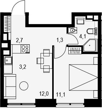 2Е-к.кв, 34.4 м², 6 этаж