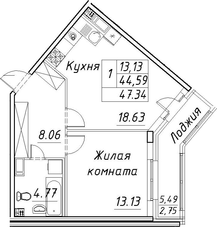 2-к.кв (евро), 50.09 м²