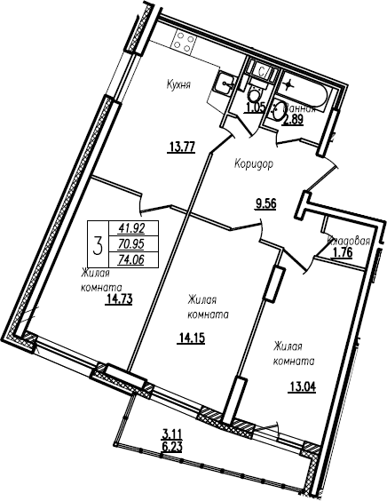 4Е-к.кв, 74.06 м²