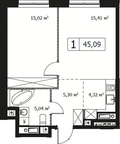 2Е-комнатная, 45.09 м²– 2
