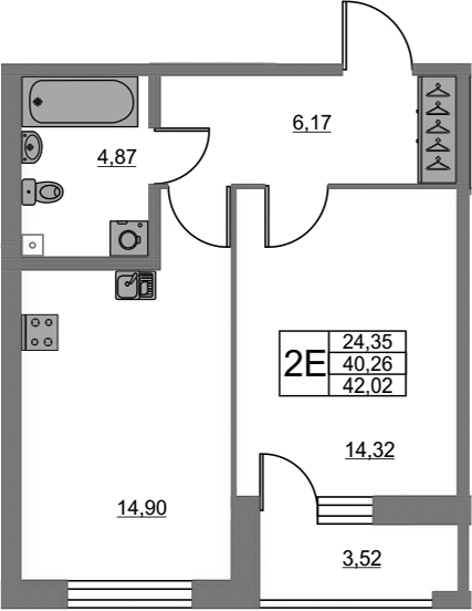 2Е-к.кв, 40.26 м²