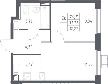 2Е-комнатная, 32.22 м²– 2