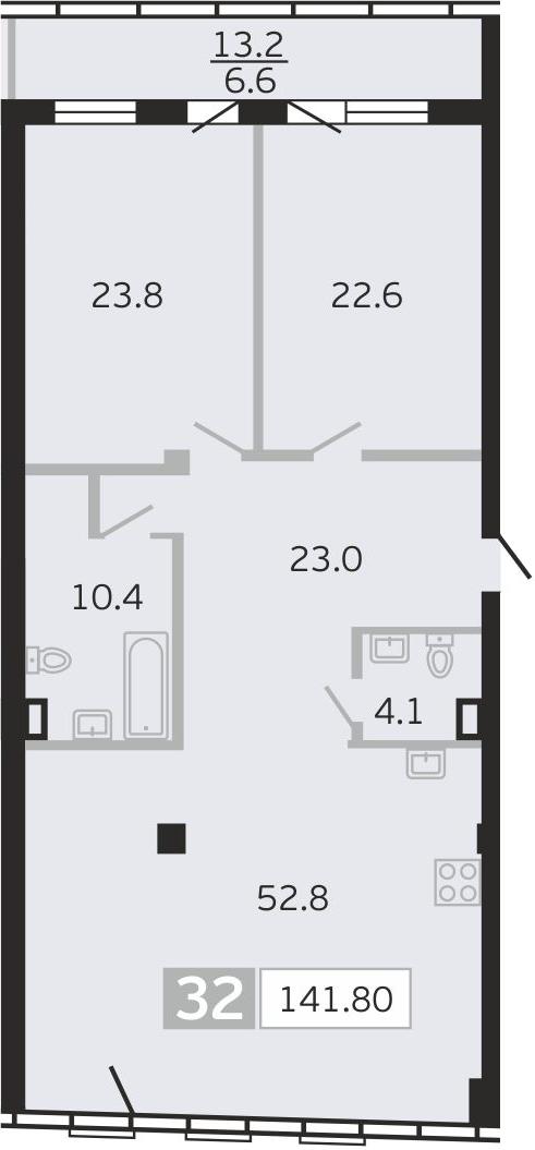 3Е-к.кв, 141.8 м², 9 этаж