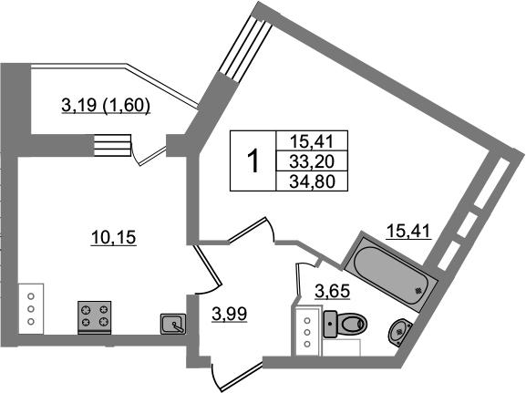 1-к.кв, 36.4 м²