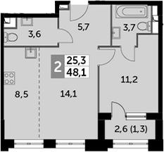 2-к.кв (евро), 49.4 м²