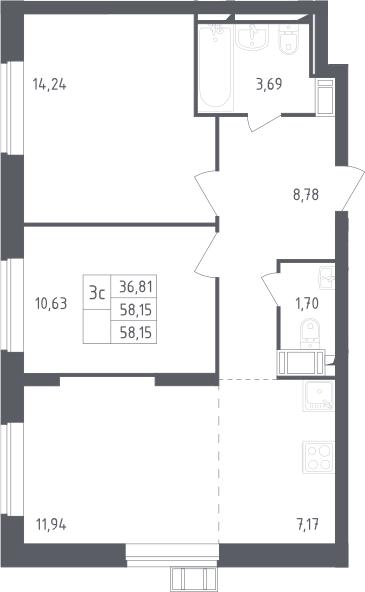 3Е-к.кв, 58.15 м², 13 этаж