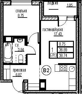 2Е-комнатная, 38.74 м²– 2