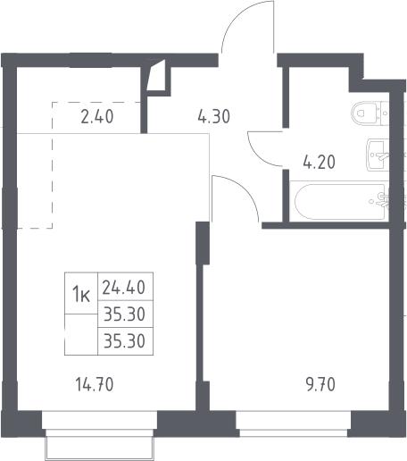 2Е-к.кв, 35.3 м², 2 этаж
