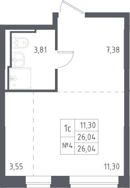 Студия, 26.04 м²– 2