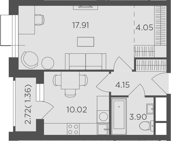 1-к.кв, 41.39 м²