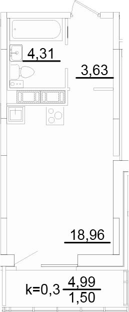 Студия, 28.17 м², 8 этаж