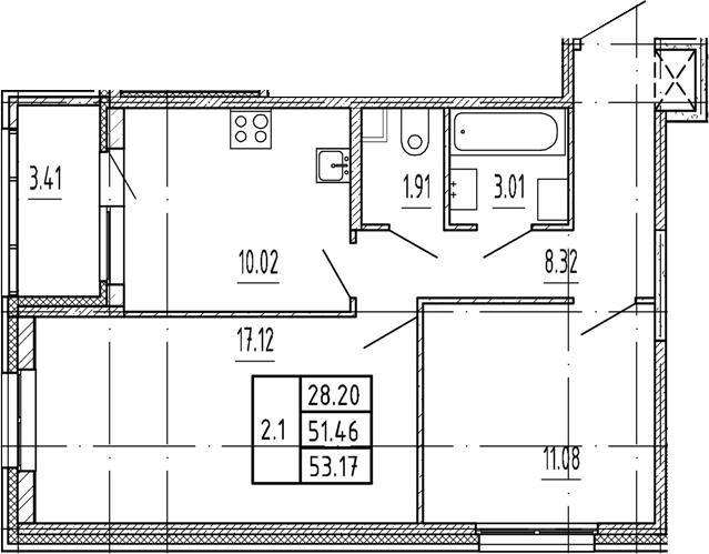 2-к.кв, 51.46 м²