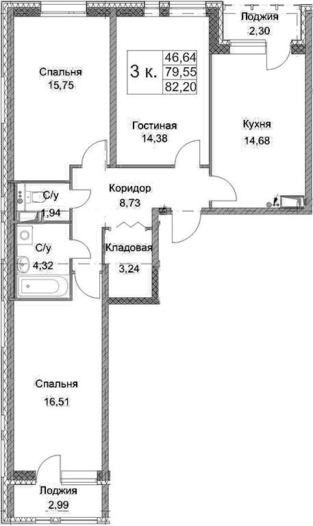 3-к.кв, 82.2 м², от 2 этажа