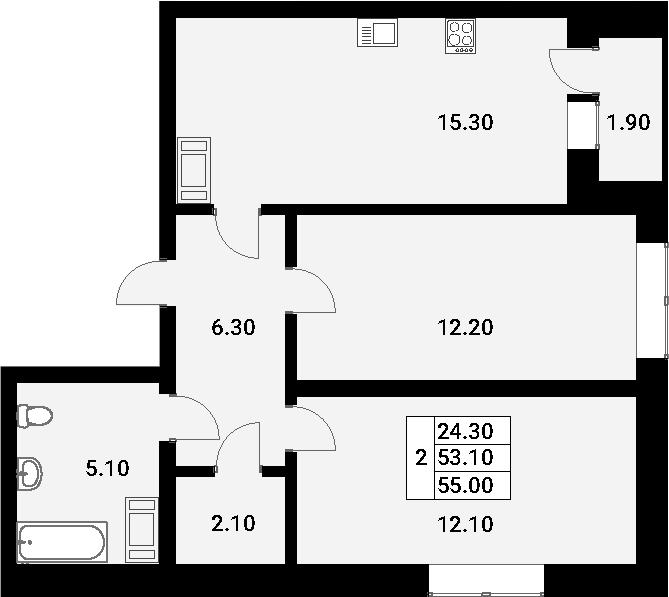 3-к.кв (евро), 55 м²