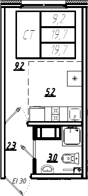 Студия, 19.7 м²