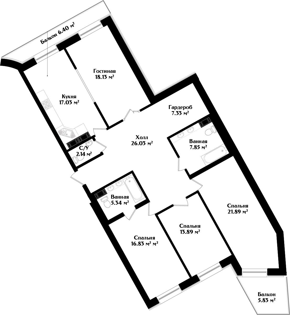 5Е-комнатная, 140.13 м²– 2