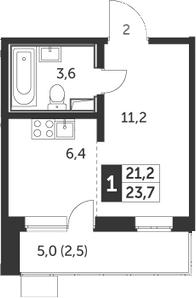 Студия, 23.7 м², 2 этаж