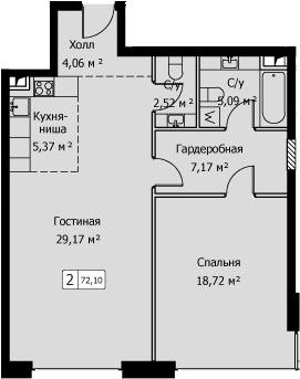 2Е-комнатная, 72.1 м²– 2