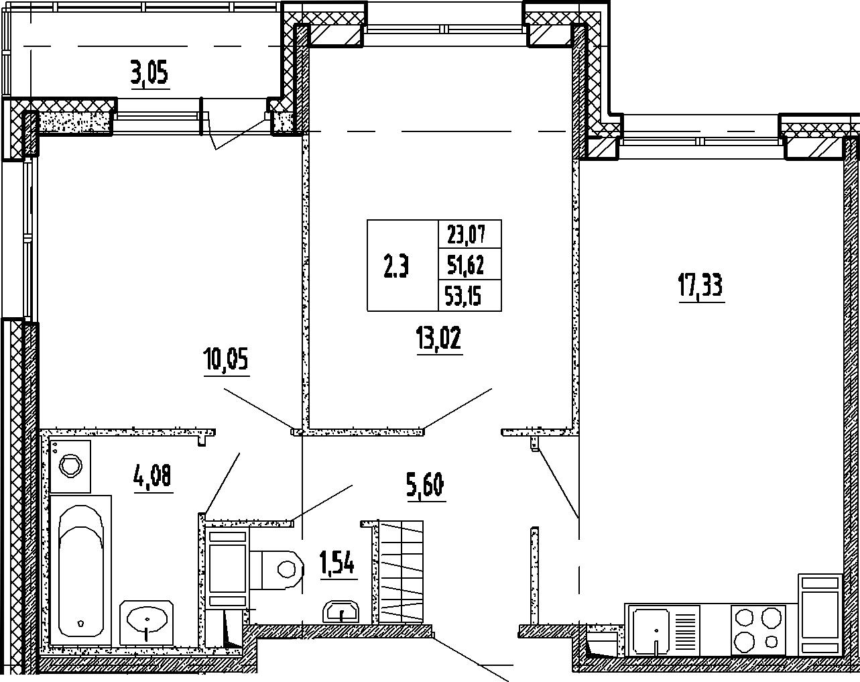 3Е-к.кв, 51.62 м², 6 этаж