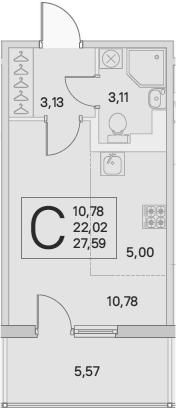Студия, 23.69 м², 2 этаж