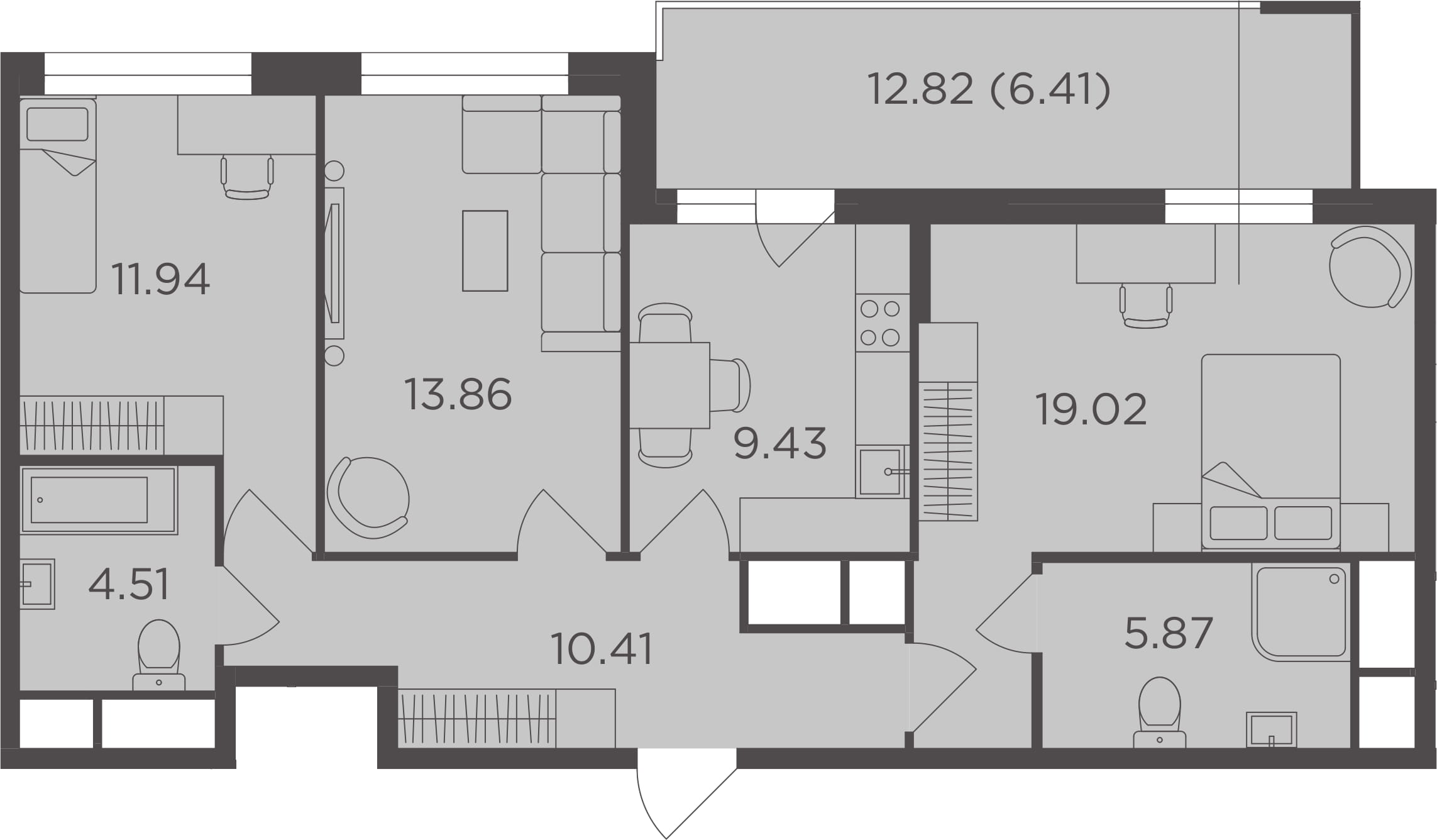 3-к.кв, 81.45 м², 23 этаж
