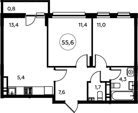 3Е-к.кв, 55.6 м²