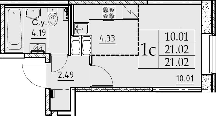Студия, 21.02 м²