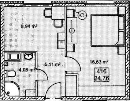 1-к.кв, 34.76 м²