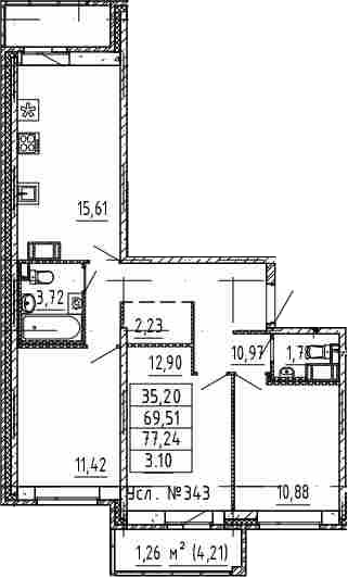 4-к.кв (евро), 77.24 м²