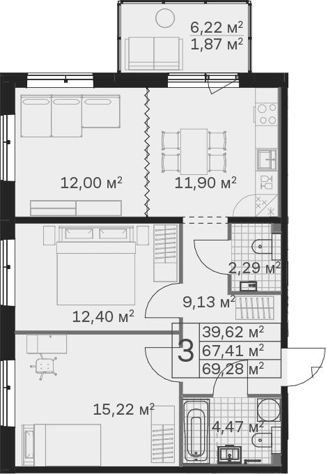 3Е-к.кв, 69.28 м², 1 этаж