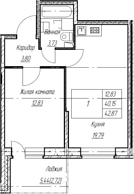 2Е-к.кв, 42.87 м², 2 этаж