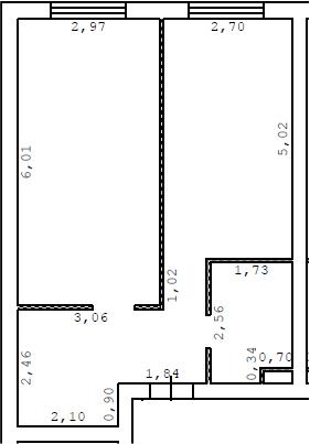 1-комнатная, 44.7 м²– 2