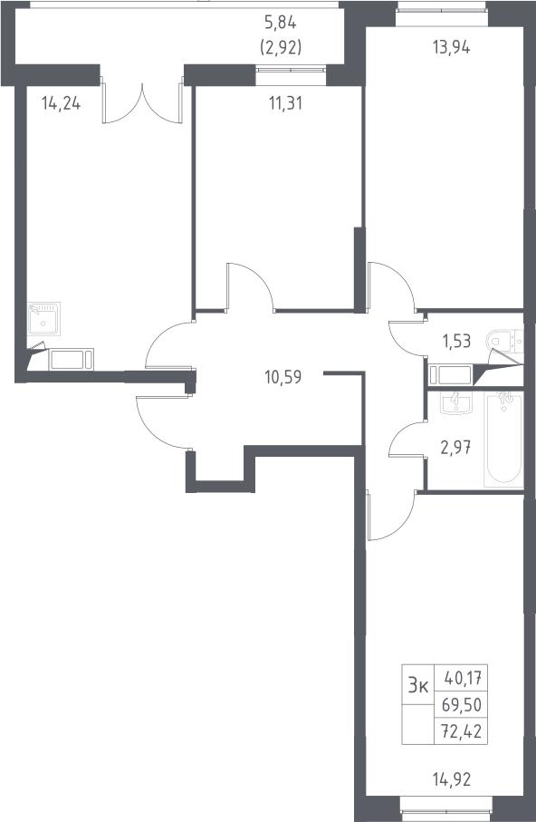 3-к.кв, 75.34 м²