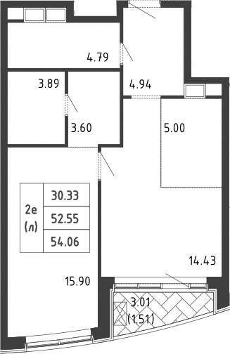 2Е-к.кв, 54 м², 4 этаж