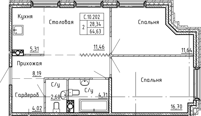 3-к.кв (евро), 64.63 м²