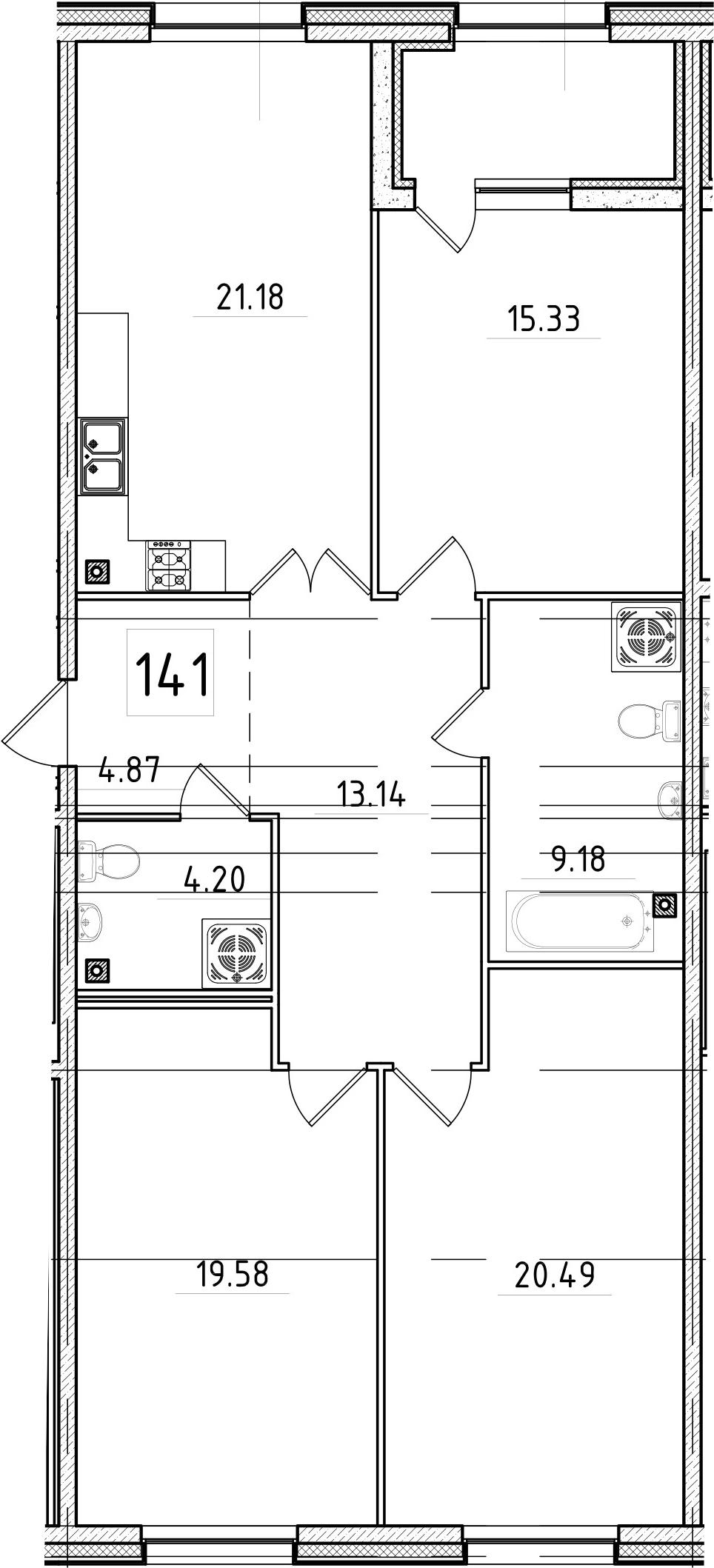 4Е-к.кв, 110.43 м², 3 этаж