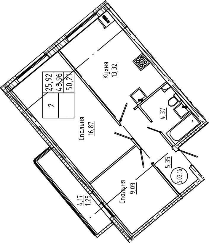 2-к.кв, 50.21 м²