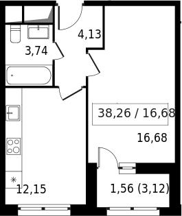 1-к.кв, 39.82 м²