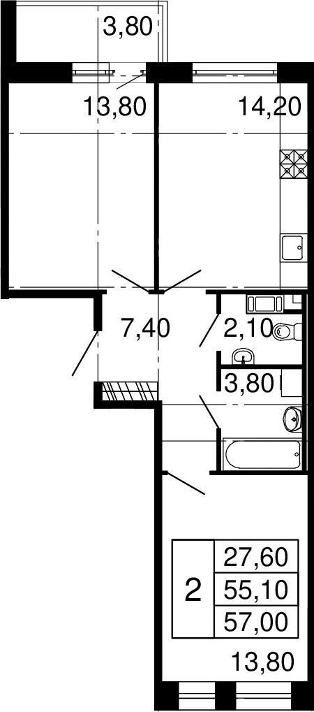 3Е-к.кв, 55.1 м², 10 этаж