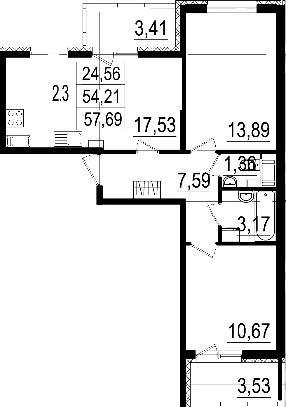 3-к.кв (евро), 61.15 м²