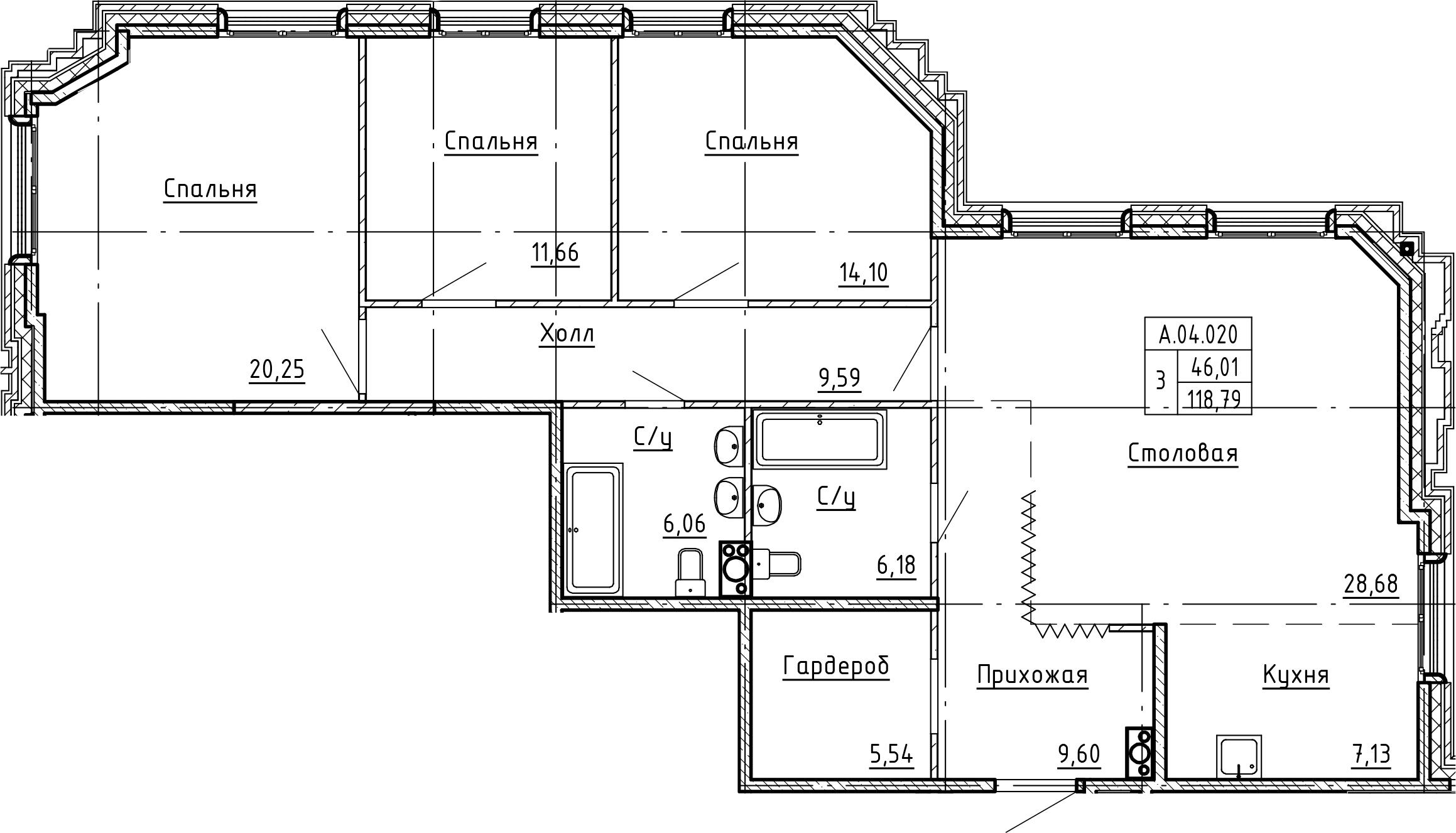 4Е-комнатная, 118.79 м²– 2