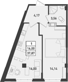 1-к.кв, 37.87 м²