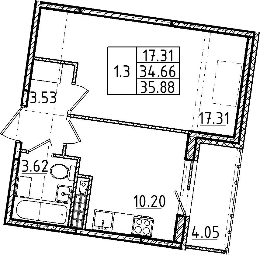 1-к.кв, 35.88 м², 5 этаж