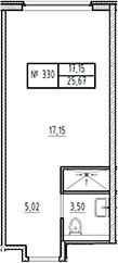Студия, 25.67 м²