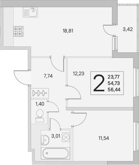 3Е-к.кв, 54.73 м², 1 этаж