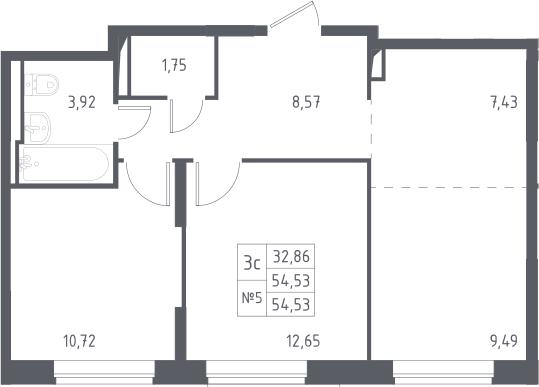 3Е-комнатная, 54.53 м²– 2