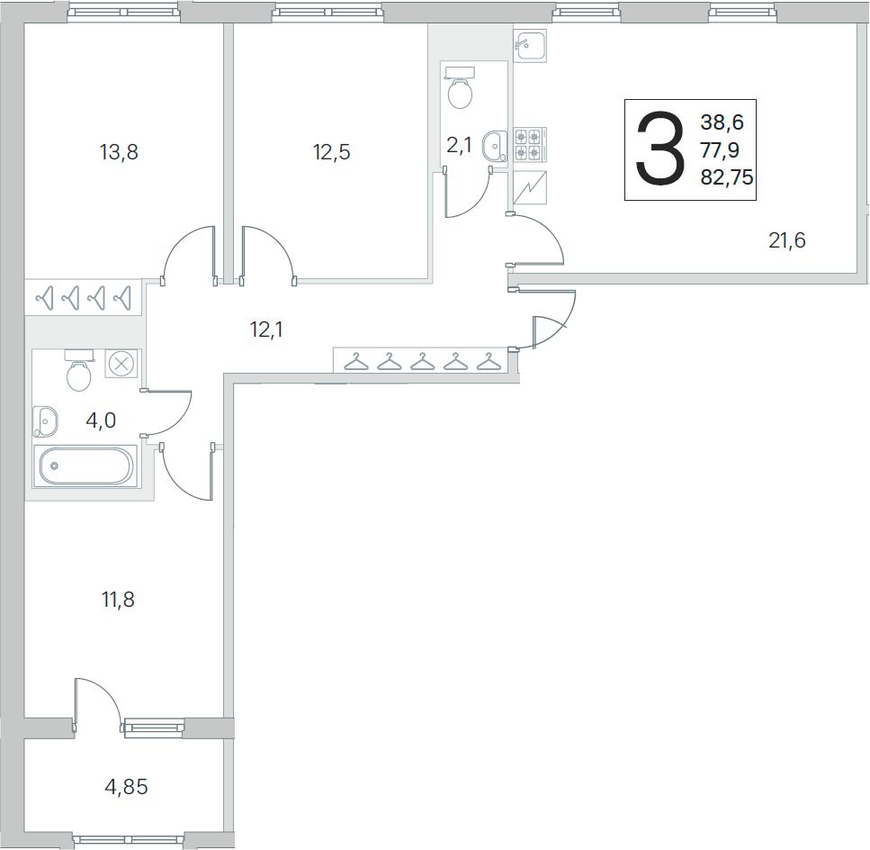 4Е-к.кв, 77.9 м², от 3 этажа